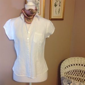 🎃Willi Smith white linen blouse.🎃